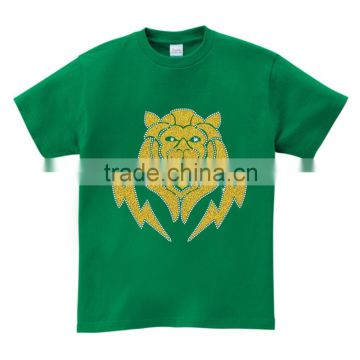 hotfix iron on glitter tiger motif custom design men multicolor cotton Tshirt