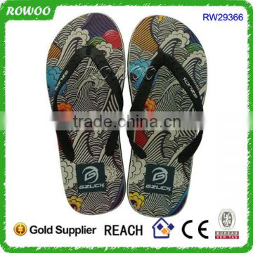 Shiny Summer Flip Flop Men Casual Shoes Black White Printing Rubber Slippers