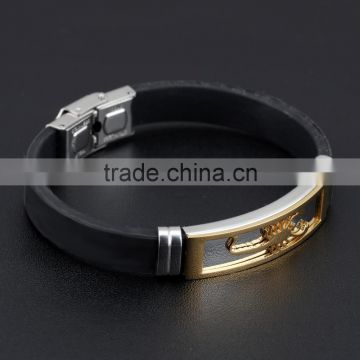 Silicone Man Bracelets Fashion Stainless Steel Scorpion Design Length Adjustable Cool Men Jewelry Bangles
