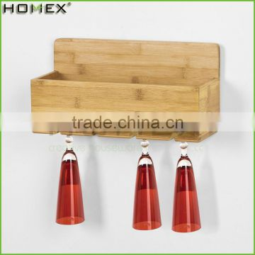 Bamboo wall mounted rack for wine and glass Homex-BSCI