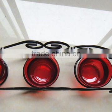 RH-4566 Christmas Reindeer Sleigh metal Candle Holder with 3 red glass Candle Holder