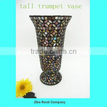 Flower Decoration Brown Hurricane Candle Holder Handblown Glass Vase Poland
