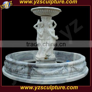 white marble figure water fountain with pots statue for garden