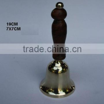 Cast Metal Brass Bell with Mirror polish and wooden handle