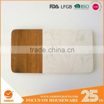 rectangle marble and acacia wood cutting board