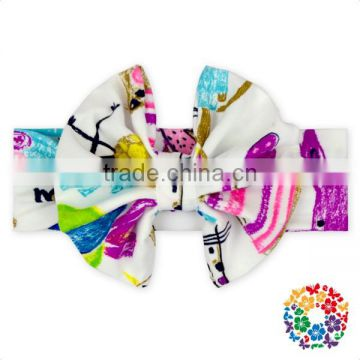 Baby Girls New Printing Headwarp Elastic Hair Band Cute Bowknot Turban Headbands