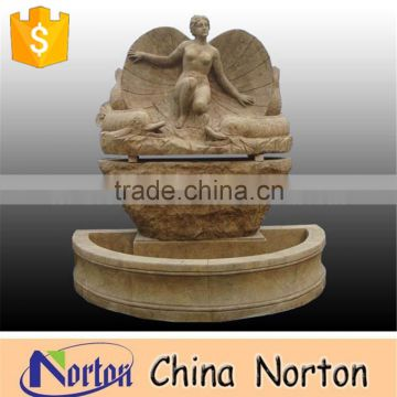 antique finish granite stone outdoor water wall fountain cherub fountain NTMF-A062R