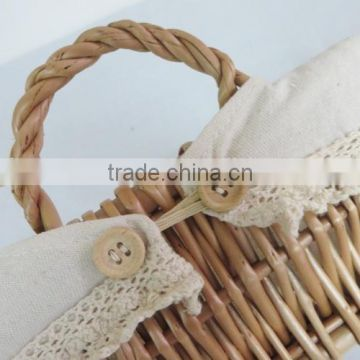 Fancy rectangular natural empty wicker baby gift basket