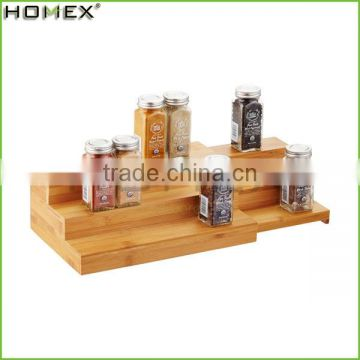 3 Tier Extensible Bamboo Spice Rack/Expanding Spice Shelf/Homex_FSC/BSCI Factory