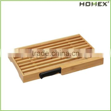 Bamboo bread slicer bread crumb catcher tray w knife Homex BSCI/Factory