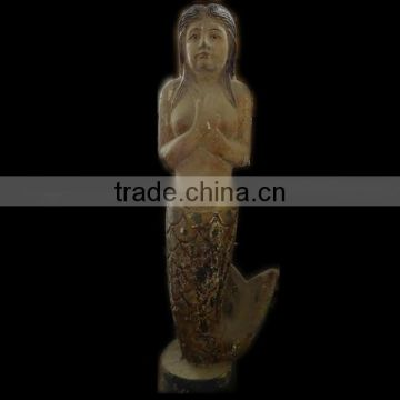 wooden carving mermaid,Antique wooden statues,Religious sculptures