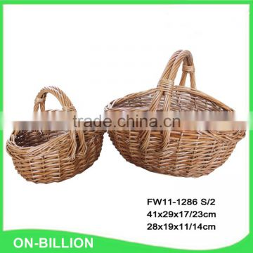 Large handled durable rustic willow garden basket