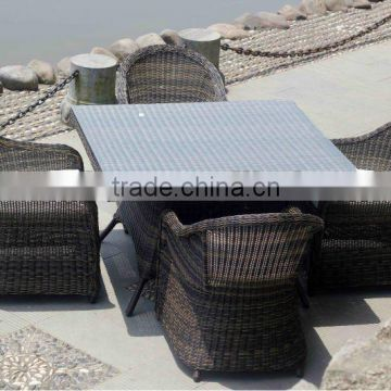 Home & Garden General Rattan Dining Set with round back chair