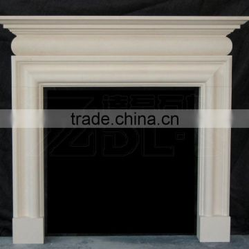 Beige and yellow limestone fireplace mantels