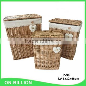 Handicraft rectangular vintage laundry basket with lid