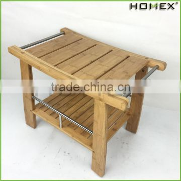 Bamboo Shower Bench with Storage Shelf/Homex_BSCI