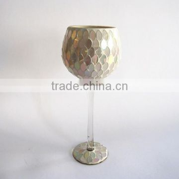 Elegant Mosaic Decorative Long Stem Vases