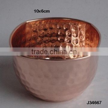 Mirror polished copper bowl with hammered patterns