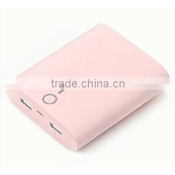 8000mAh high capacity power bank, dual usb battery charger multi color available