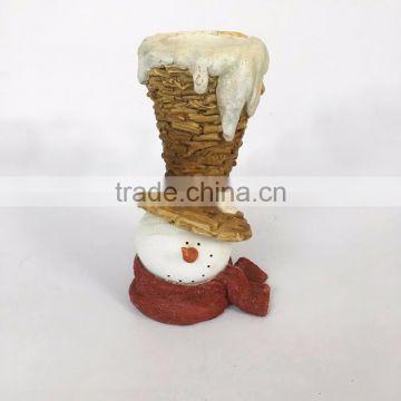 Custom resin snowman with opera hat candlestick holder