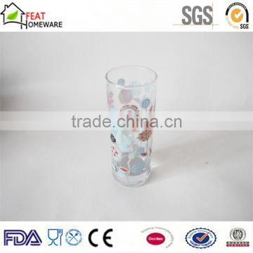 Wholesale high quality glass drinking cup with printing decal