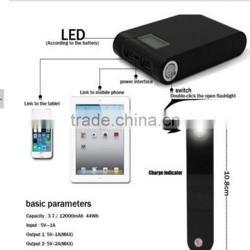 smartphone dual USB 12000mah digital display power bank with led charge indicator