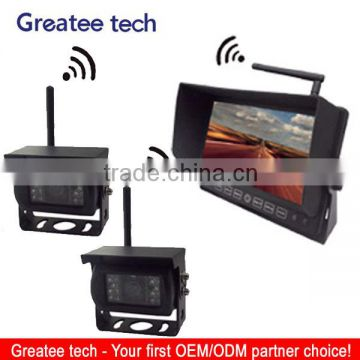 7 inch wireless car rearview camera system with 2 wireless ccd camera