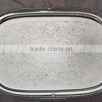 Silver plated rectangle service tray with handles , Decorative service food tray, Airlines service tray, Arabic metal tray