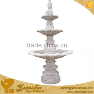large size outdoor 3 tier white marble carved fish water fountain hot sale (FTN-B080)