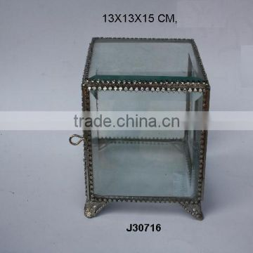 Square Glass Jewellery boxes with feat brass fittings in nickel plating