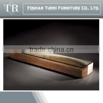 Modern design travertine base glass top TV Cabinet