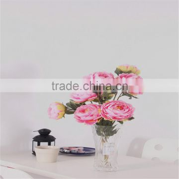 SJ20170055 artificial peach fabric peony flower for indoor decoration
