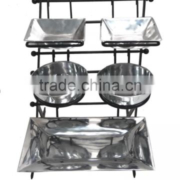 Iron Stand with Aluminium Bowls and Tray