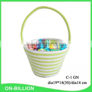Cotton cord coiled stylish easter egg basket needlework bag