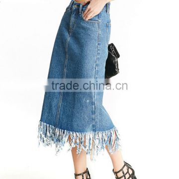 Summer simple design high waisted street style blue washed denim skirt for girls
