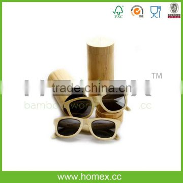 Wholesale Polarized Genuine Bamboo Sunglasses with Bamboo Case/Homex_FSC/BSCI Factory