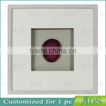 Wooden Shadow Box Frame Encasing Colorful Agate Stone Under Glass