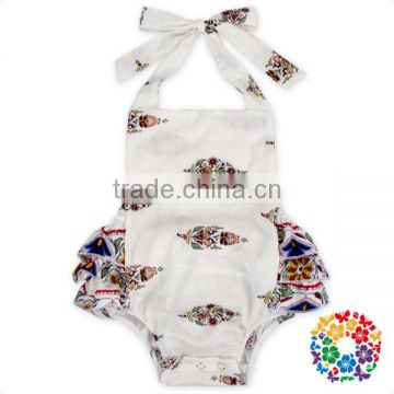 Newborn baby clothes wholesale cotton halter ruffled bubble baby girl romper