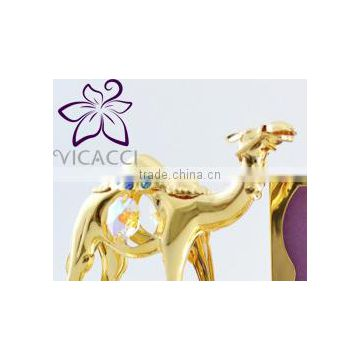 24K Gold Plated Two Camel with Photo Frame with Swarovski Crystals
