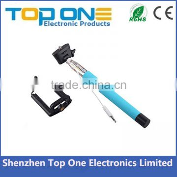 Wholesale colorful cable take pole selfie stick with cable for iphone and Android Smart phone