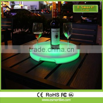remote control night club rechargeable battery illuminated serving tray led serving tary
