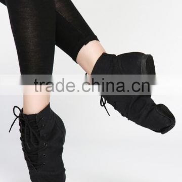 D004995 Women black color lace up canvas jazz dance shoes ankle boot