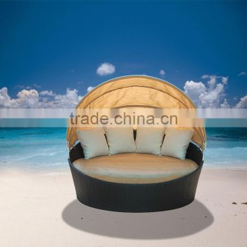 All weather wicker round sunbed with canopy