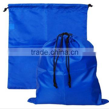 custom promotional cheap navy blue polyester drawstring bag
