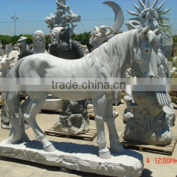 Stone animal sculpture horse carving