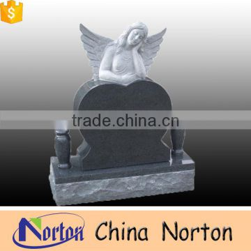 Chinese handmade vivid granite angel carved tombstone customized angel wings tombstone NTGT-049L