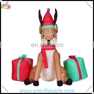 Promotion Christmas reindeer inflatable product, inflatable reindeer with gift box for christmas decoration from china supplier
