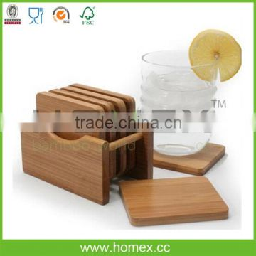 6pcs Bamboo Cup Coaster Set with Holder/Homex_FSC/BSCI Factory