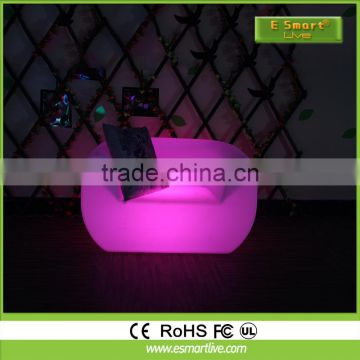 Bar furniture plastic sofa led for sale light up sofa furniture with remote