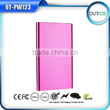 2015Hot Selling Compact Portable Mobile CE Rohs Lithium Polymer Backup Battery Power Bank 4000mah